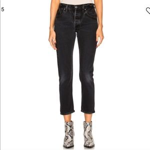 Redone Levi's black ankle crop